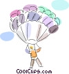 Person parachuting Vector Clip Art graphic