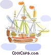 Vector Clip Art picture  of a Clippers and Tall Ships