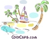 Beach Scenes Sailboat at island Vector Clipart illustration