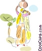 Egyptian Person carrying jug of water Vector Clipart picture