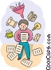 Student with and overload of information Vector Clipart image