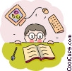 Student with open book and computer Vector Clipart graphic