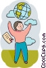 Student with the world in his hands Vector Clip Art image