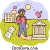 Student with apple and bank symbol Vector Clipart illustration