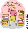 Student with math and history books Vector Clipart picture