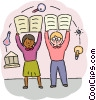 Science Students holding up projects Vector Clipart graphic