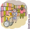 Student in wheelchair in the library Vector Clipart picture
