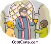 Priest performing service with altar boy Vector Clipart image