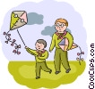 Father and son flying a kite Vector Clipart graphic