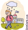 Sad Student leaving school with rain clouds Vector Clipart graphic