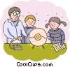 Teacher and student performing science experiment Vector Clipart illustration