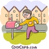 Man getting letter from mailbox Vector Clip Art image