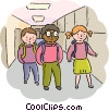 Students walking in the hallway at school Vector Clipart illustration