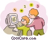 Student and teacher working on math problems Vector Clip Art picture