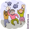 Graduate students with diplomas Vector Clip Art image