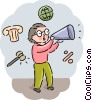 Student making announcements Vector Clip Art picture