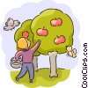 Boy picking apples with birds Vector Clip Art image