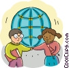 Students shaking hands Vector Clipart image