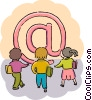 Students with e-mail symbol Vector Clipart picture