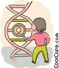 Student with DNA strand Vector Clipart illustration