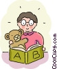 Student with teddy bear reading book Vector Clip Art image