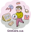 Student with cd rom and computer equipment Vector Clip Art graphic