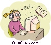 Student taking course online Vector Clipart picture
