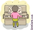 Girl playing piano Vector Clipart image