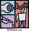 Vector Clipart graphic  of a Person adding grease to gears