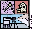 Architect with compass and house Vector Clip Art picture