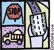 Vector Clip Art graphic  of a Road construction with stop sign
