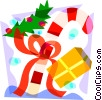 Vector Clipart image  of a Candy cane with presents