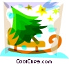 Vector Clipart graphic  of a Christmas tree on a sleigh