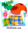 Vector Clip Art image  of a Santa's hat on some gifts