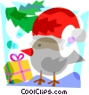 Vector Clip Art image  of a Bird with Santa's hat