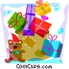 Vector Clip Art graphic  of a Pile of Christmas gifts