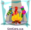 Vector Clipart graphic  of a Christmas stockings hung by