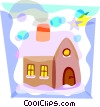 Vector Clip Art image  of a House covered in snow