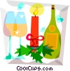 Champagne and glasses Christmas candle Vector Clipart graphic