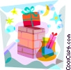 Christmas gifts going down the chimney Vector Clipart image