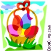Vector Clipart picture  of a Basket of Easter eggs