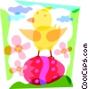 Chick on a Easter egg Vector Clipart graphic