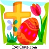Vector Clip Art picture  of a Easter egg and a holy cross