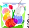 Vector Clipart image  of a Easter bunny and eggs