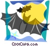 Vector Clip Art image  of a Bats flying with full moon
