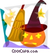 Jack-o-lantern with witch's hat and broom Vector Clip Art graphic