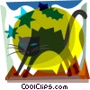 Black Cat with bats and full moon Vector Clip Art picture