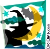 Witch and bat Vector Clipart picture