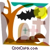 Bat at graveyard and full moon Vector Clip Art graphic