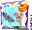 Ghosts, skeleton, bat and jack-o-lantern Vector Clip Art graphic